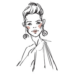 Fashion sketch of beauty model. Hand draw fashion illustration of girl. A sketch of woman with jewelry