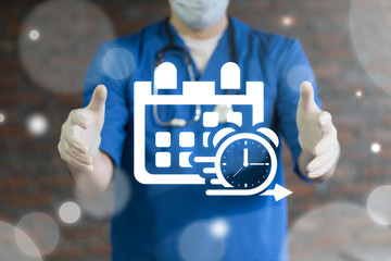 Doctor using virtual interface offers calendar and clock icon. Medicine Time Management. Strategic Plan Agile Development Health Care concept.