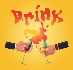 Chin-chin. Clinking glasses with alcohol and toasting, drink party. Cartoon flat vector illustration