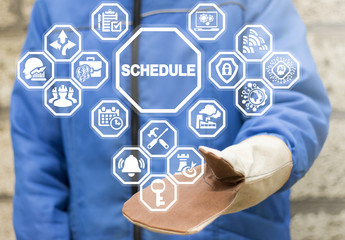 Shedule Industry Planning Time Management concept. Event appointment and strategy in manufacturing. Industrial man using virtual interface offers schedule icon.