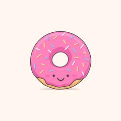 Happy donut - doughnut cartoon character vector illustration