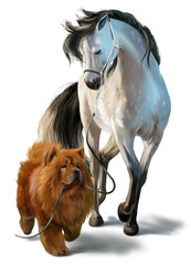 Dog Chow Chow and horse watercolor painting