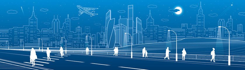 People cross highway. Urban infrastructure panorama, modern city at background, industrial architecture. White lines illustration, vector design art