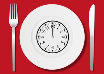 Manger - déjeuner - midi - heure - repas - pause - concept - menu - assiette - pause déjeuner - heure