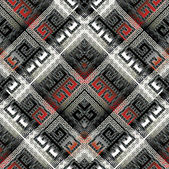 Modern geometric meander seamless pattern. Vector luxury abstract greek key background. 3d wallpaper. Geometric black white red shapes,  stripes, frames, squares, rhombus, frames. Surface 3d texture.