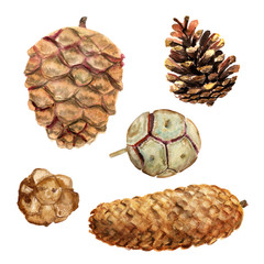Set of watercolor cones