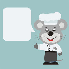 Chef mouse with speech bubble in cartoon style. Smiling mouse cook says and shows like.