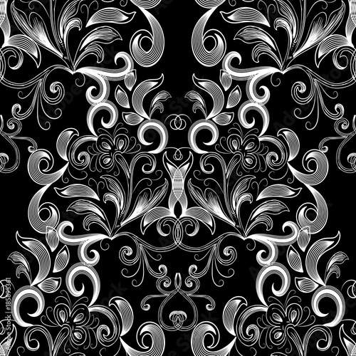 Vintage Black White Floral Seamless Pattern Vector Flourish Background With Hand Drawn Line Art Tracery