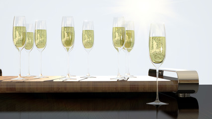Luxury glasses with champagne for cheers