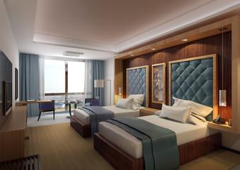 hotel-interior design- bed room- 3d rendering