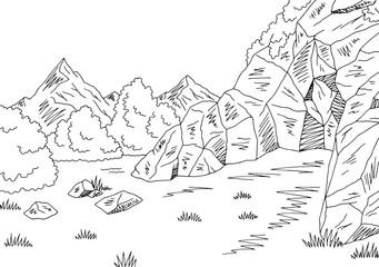 Cave graphic black white mountain landscape sketch illustration vector