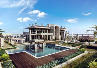 classic luxury  villa - 3d rendering