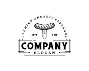 Fork and the Sausage Food on the Restaurant Illustration Hand Drawing Symbol Logo Vintage Vector