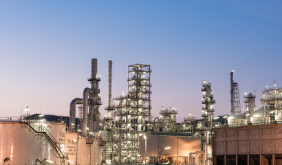 Oil Industry Refinery factory at twilight