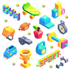 Isometric Sport Icon Set