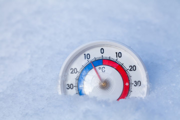Snowed thermometer shows minus 9 Celsius degree cold winter weather concept