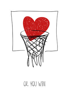 Love Card With Heart In Basketball Basket.