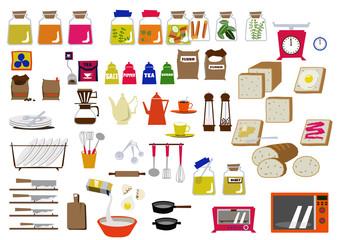 キッチンの素材。キッチン用品のアイコン。素材集。