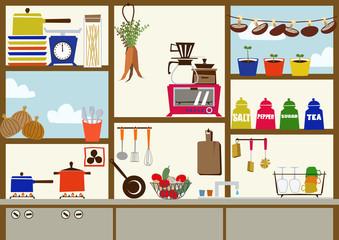 窓のあるキッチンのイメージ。キッチンのクリップアート。