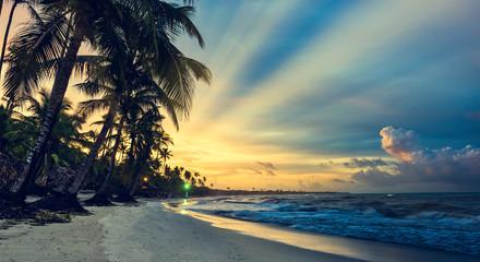 beautiful sunset sea Caribbean Dominican Republic