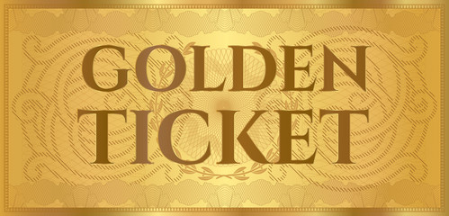 Gold ticket, golden token (coupon) isolated on white background. Useful for any festival, party, cinema, event, entertainment show