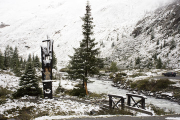 View Landscape snow snowing covered on pine tree at top of mountain in Kaunergrat nature park in Tyrol, Austria