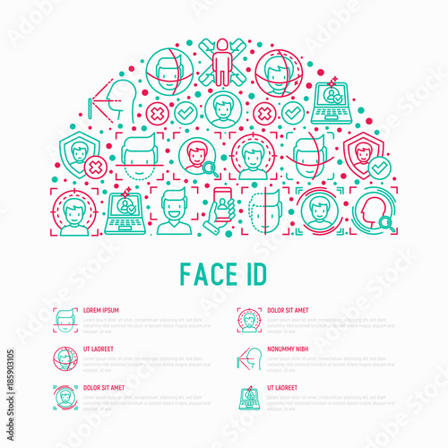 face id concept in half circle with thin line icons face