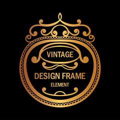 Vintage luxury golden ornamental frame. Template for design. Vector illustration