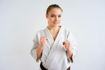 Karate girl training
