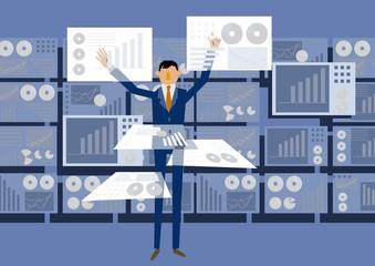 仮想現実とビジネスマンのクリップアート。ビッグデータを扱う近未来のイメージ。