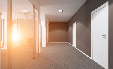 Open space office interior with like conference room. Mockup. 3D rendering. Sunset.