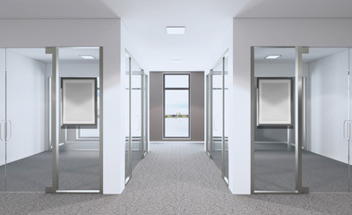 Empty modern office Cabinet. Meeting room. 3D rendering. Mockup picture.