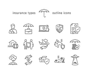 Insurance types black line icons
