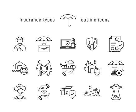 Insurance types black line icons