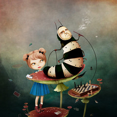 Conceptual fantasy tale illustration for Wonderland with caterpillar and  girl on mushroom.