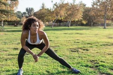 Young athletic woman stretching in park getting ready to workout