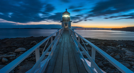 Marshall point Lighthouse at night