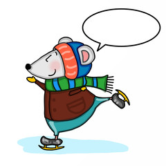 cute mouse ice skating cartoon illustration