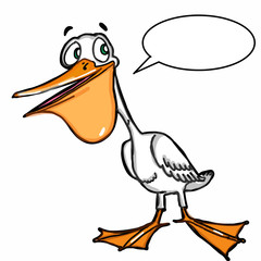 cute pelican  cartoon illustration drawing and speakin