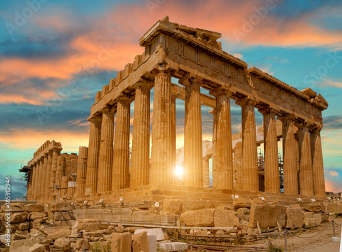 Wall mural parthenon athens greece sun beams and sunset colors