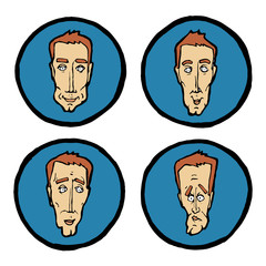 Facial expressions in man's faces, emotions icons set.