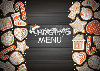 Top view of Merry Christmas concept design. Holiday cookies on wooden background. Christmas menu