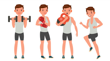 Fitness Man Vector. Different Poses. Work Out. Active Fitness. Flat Cartoon Illustration