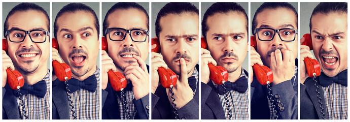 Man having various emotions talking on phone