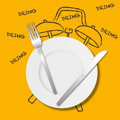 Manger - déjeuner - midi - pause déjeuner - réveil - concept - heure - repas - pause - menu - assiette