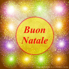 Buon Natale greeting card. New year template. Brightly Colorful Fireworks. Gold illustration of Fireworks. Holiday fireworks background. Merry christmas illustration.