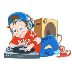 Kids Leisure Activities. Cartoon music dj, disk-jockey. Design for children's coloring book.