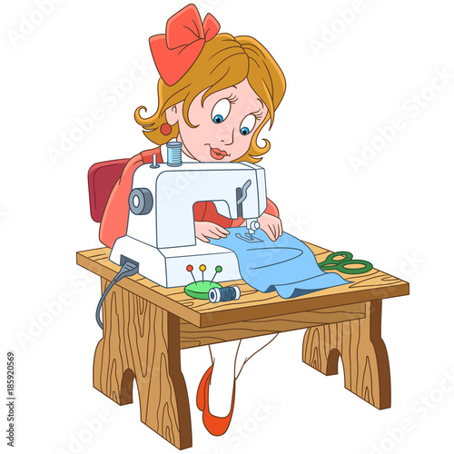 Kids in Professions. Cartoon seamstress (tailor), working on ...