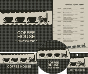 Vector set of elements for design coffee house. Menu, business cards and coasters for drinks on the checkered background with old steam locomotive and wagons with cups