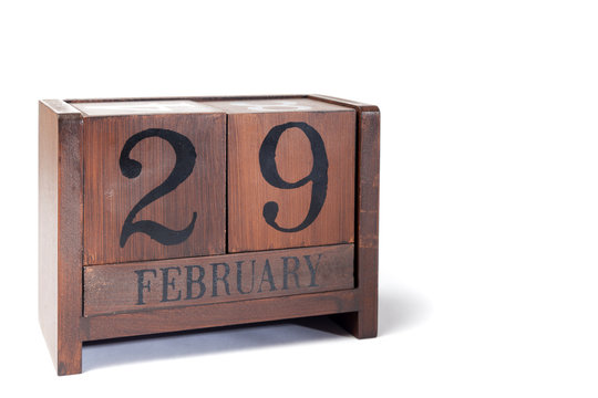 Wooden Perpetual Calendar set to February 29th, Leap Year